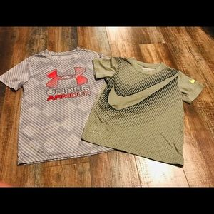 Nike/Under Armour Dri-Fit tees size 6